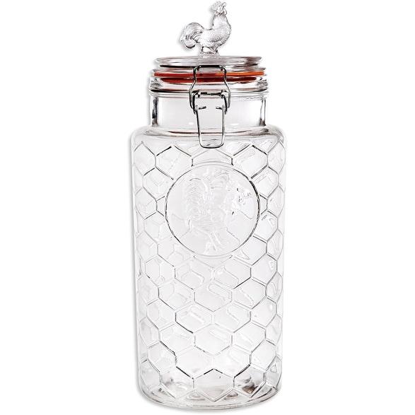 Palais Rooster Clear Glass Canister With Bail And Trigger Locking Lids 88 Oz 11 High
