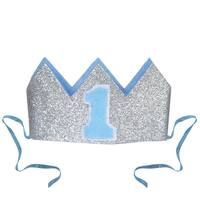 """Club Pack of 12 Baby Blue and Silver Glittered Baby's 1st Birthday Crown 4.5"""""""