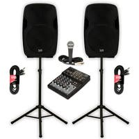 """Acoustic Audio AA15U Powered 15"""" Speaker Pair 2000W with Mixer Mic and Stands"""
