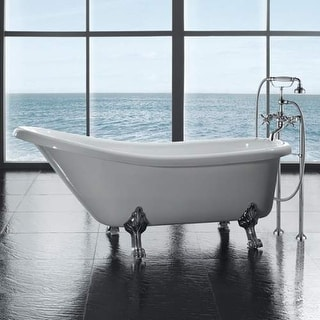 "Miseno MT6630FSC 66-1/8"" Slipper Style Soaking Bathtub for Free Standing Install - White"