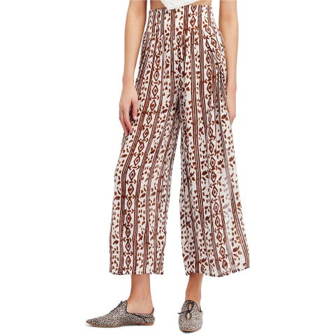 Free People Womens Natural Casual Wide Leg Pants, Beige, Medium