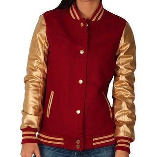 Sportier Junior Wool Blend Varsity Jacket With Faux Leather Sleeves (Option: Beige)