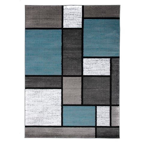 Contemporary Modern Boxed Color Block Area Rug