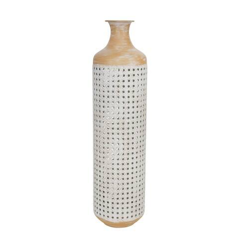 """Metal 26"""" 2-Tone Vase, White"""