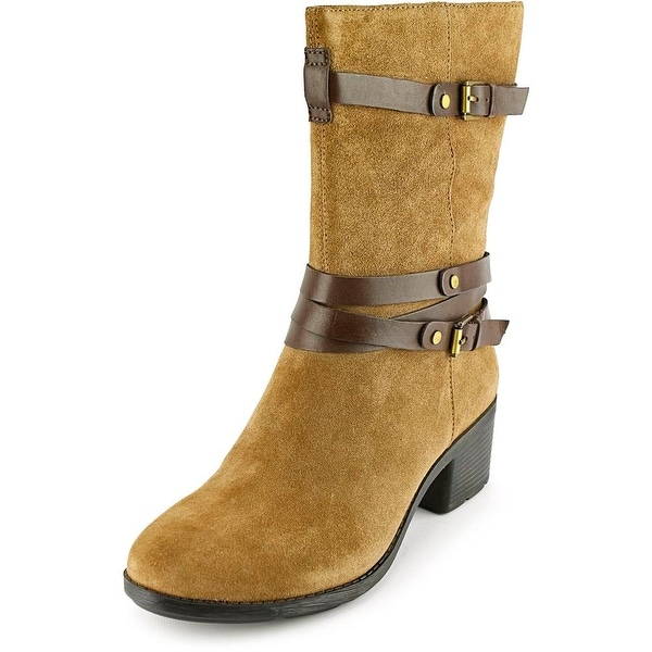 Bandolino Ursal Women Round Toe Suede Brown Mid Calf Boot