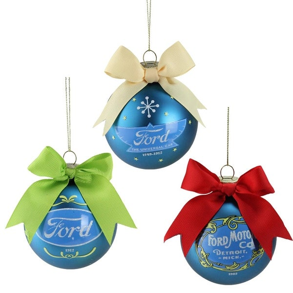 "Set of 3 Collectible ""Ford"" Logo Blue Glass Ball Christmas Ornaments 2.75"" (70 mm)"