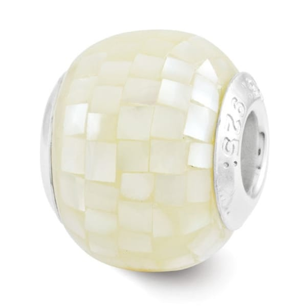 Sterling Silver Reflections White Mother of Pearl Mosaic Bead (4mm Diameter Hole)