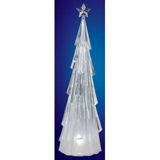 "Pack of 2 Icy Crystal Illuminated Modern Christmas Tree Figures 23"""