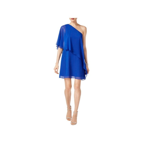 Vince Camuto Womens Cocktail Dress One Shoulder Asymmetric