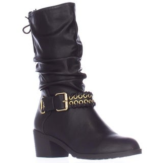 TS35 Jannice Ankle Strap Mid-Calf Slouch Boots, Black