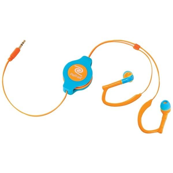 Retrak Etaudwbuor Retractable Sports Wrap Earbuds (Neon Blue/Orange)