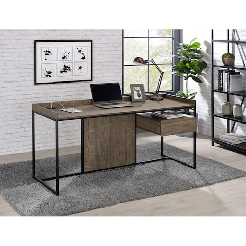 Furniture of America Jaxon Industrial Desk with Built-In Power Strip