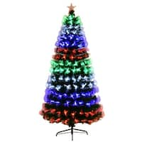 Costway 6Ft Multicolor LED Lights & Stand Pre-Lit Fiber Optic Artificial Christmas
