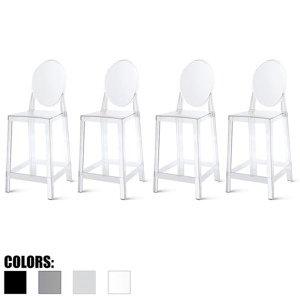 "2xhome Set of 4 25"" Seat Counter Height Transparent Barstool Modern Ghost Stool Armless Chairs Molded Crystal with Back Garden"