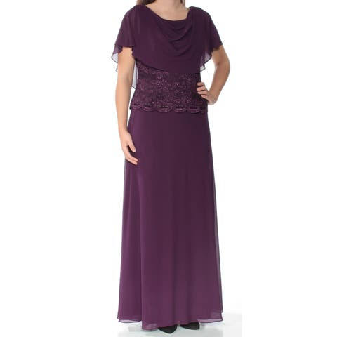 59b5413dc67 JESSICA HOWARD Womens Purple Sequined Short Sleeve Cowl Neck Full-Length  Fit + Flare Evening