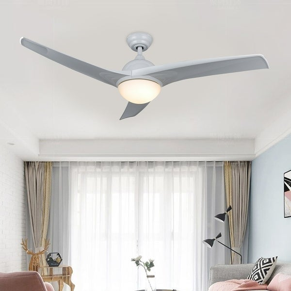 """CO-Z 52"""" 3-Blade Modern LED Ceiling Fan w Light Kit and Remote Control. Opens flyout."""