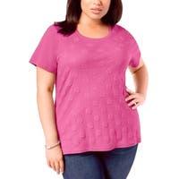 Karen Kane Pink Women's Size 1X Plus Textured Front Knit Top