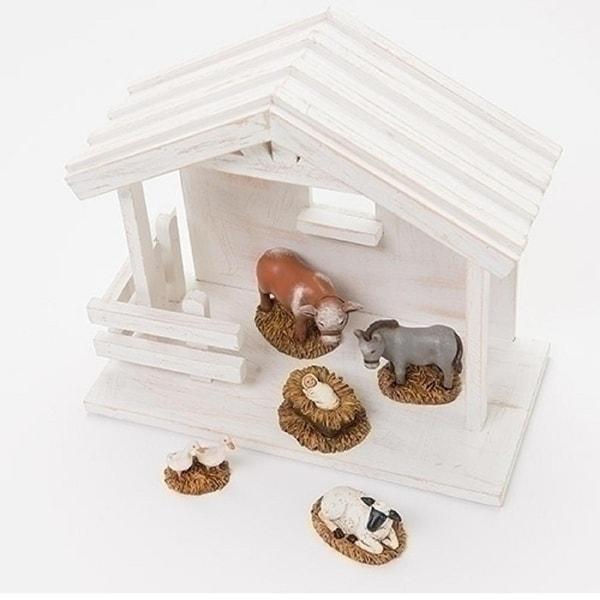 5- Piece Baby Jesus with Animlas Nativity Christmas Table Top Figure Set - multi