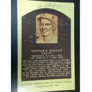 Signed Koufax Sandy Hall of Fame Postcard autographed