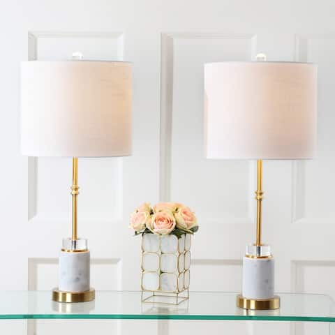 "Harper 27"" Marble/Crystal LED Table Lamp, Brass (Set of 2) by JONATHAN Y"