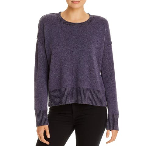 Eileen Fisher Womens Pullover Sweater Cashmere Ribbed Trim - Purple