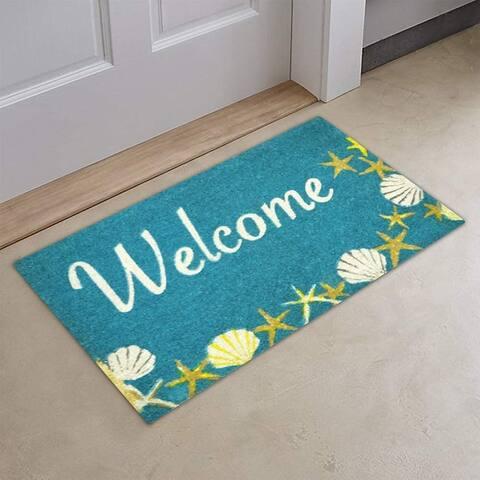Envelor Indoor Outdoor Coco Doormat Non-Slip Coastal Entrance Mat Welcome Door Mat - Seashells and Starfish