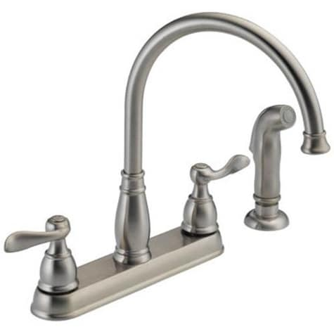 Shop Delta 21996lf Ss Stainless Steel Kitchen Faucet With Two Handle