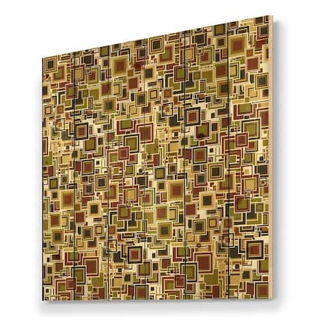 Designart 'Cubist Geometric Composition Of Brown And Green' Modern Print on Natural Pine Wood