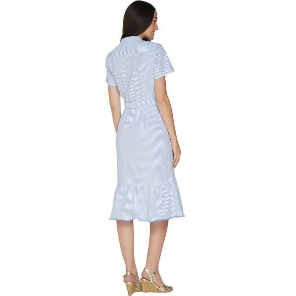Shop Isaac Mizrahi Live Womens Seersucker Shirt Dress With Ruffle