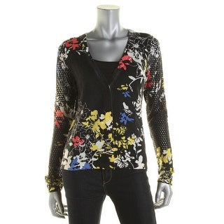 Elie Tahari Womens Cardigan Sweater Button Front Floral Print