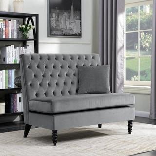Belleze Modern Button Tufted Style Settee Bedroom Bench Loveseat Sofa Velvet, Gray