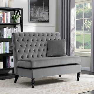 Belleze Modern Button Tufted Style Settee Bedroom Bench Loveseat Sofa Velvet, Gray