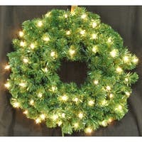 Christmas at Winterland WL-GWSQ-02-ICL 2 Foot Pre-Lit Incandescent Clear Sequoia Wreath - N/A