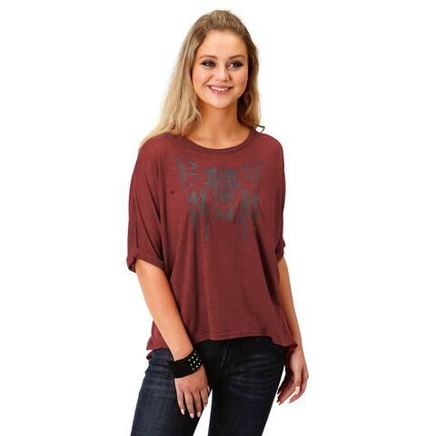 Roper Western Shirt Womens S/S Screen Print Plum