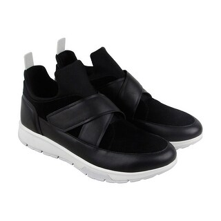 Calvin Klein Karsen Nappa Mens Black Leather & Suede High Top Sneakers Shoes