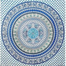 "Handmade Elephant Mandala Tapestry 100% Cotton Dorm Tablecloth Bedspread Throw Beach Sheet Blue Green Twin 64""x96"" Full 86""x96"""