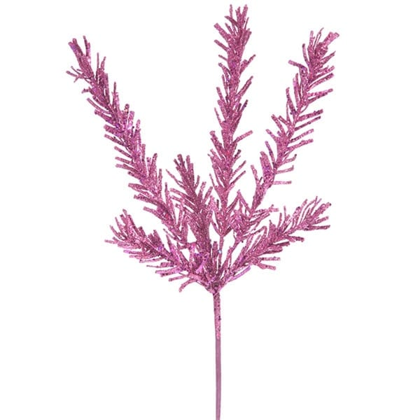 """21"""" Sparkling Pink Rosemary Glitter Floral Crafting Christmas Spray"""