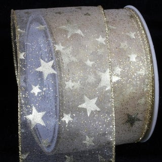 """Sheer Gold Milky Way Wired Craft Ribbon 3"""" x 20 Yards"""