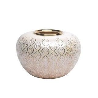Striking Ceramic Round flower vase, Beige And Gold