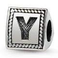 Sterling Silver Reflections Letter Y Triangle Block Bead (4mm Diameter Hole) - Thumbnail 0