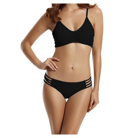 Zeraca Ink Black Womens Size Small S Strappy Tankini Swimwear