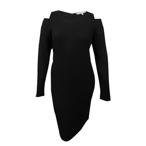 RACHEL Rachel Roy Plus Size Cold Shoulder Rib Knit Dress (1X, Black) - Black - 1X