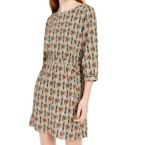 Be Bop Sheath Dress Hunter Green Size XS Junior Printed Buckle-Detail