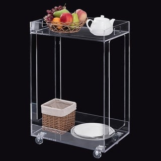 Costway 2 Tier Clear Acrylic Kitchen Trolley Rolling Home Dining Serving Storage Cart
