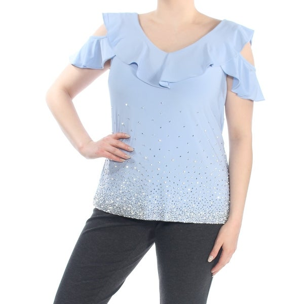 8bd35a659df3 Shop MSK Womens Light Blue Cold Shoulder Embellished V Neck Wear To Work Top  Petites Size: XL - Free Shipping On Orders Over $45 - Overstock - 27987117