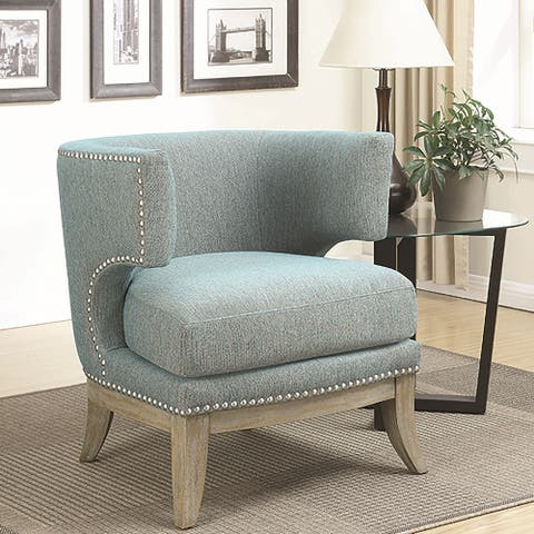 Mid Century Design Blue Chenille Living Room Accent Chair with Nailhead Trim