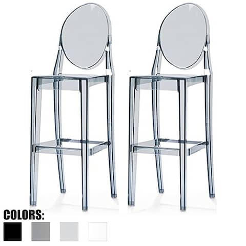 "2xhome - Set of 2 Smoke Modern 30"" Seat Bar Stool Counter Height With Back Plastic Chairs For Home Restaurant Office"