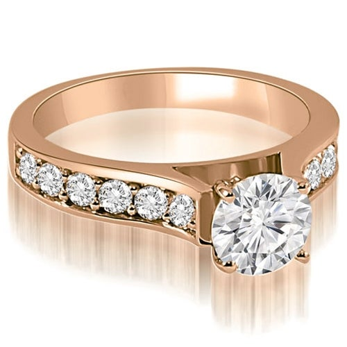1.35 cttw. 14K Rose Gold Cathedral Round Cut Diamond Engagement Ring