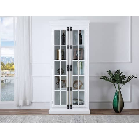 Best Master Furniture Poplar Wood 4 Shelves with Glass Curio Cabinet