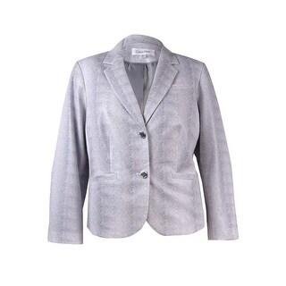 Calvin Klein Women's Plus Size Printed Pocket Blazer - white tin - 18W